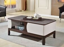 ESPRESSO OAK COFFEE TABLE WITH SHELF AND A HEAVY STONE TOP FINISH