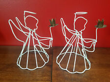 """Vintage Set of 2 White Coated Wire Christmas Angel Candle Holders 6.5"""""""