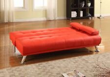 Large 3 Seater Sofa Bed In Red Faux Leather Sofa Living Room Bedroom Furniture