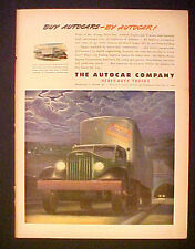 1945 WWII AutoCar~Auto Car Trucks Shirks Motor Express Co. Lancaster,Pa Art  Ad