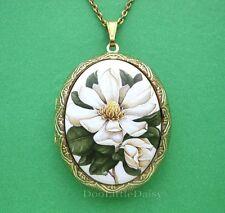 Porcelain MAGNOLIA FLOWER CAMEO Locket Pendant Necklace for Birthday Gift idea!