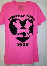 NWT Women's Disney Mickey & Minnie Pink w/ Black glitter heart T-shirt sz. L