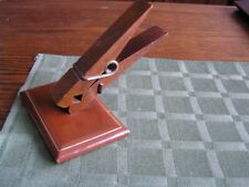 4 Cherry Wood Paper Clip Desk Note Memo Holder Leather Withgold Trim West Germany