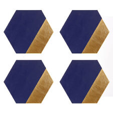 Geome Dipped Hexagonal Placemats Navy & Gold Set of 4 Dining Table Protectors