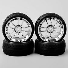 4X 1/10 Scale On Road Racing Rubber Tyre Tire Chrome Wheel For HPI RC Car SBDC