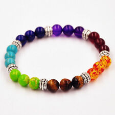 Unisex Fashion 7 Chakra Mixed Gemstone Healing Prayer Mala Bracelet Jewelry