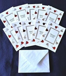 VALENTINE DAY PHOTO CARDS and ENVELOPES LOT of 10 Hallmark Hershey Kisses NEW