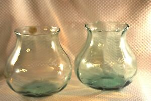 PRINCESS HOUSE HERITAGE Green Crystal Vase - 486G - New In Box - Set of 2