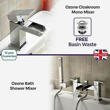 OZONE BATHROOM CHROME BRASS MODERN BASIN AND BATH SHOWER MIXER TAP *FREE WASTE*