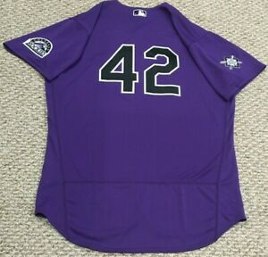 #42 SIZE 48 2021 JACKIE ROBINSON Colorado Rockies game jersey road MLB HOLO