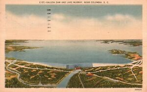 Vintage Postcard 1957 Saluda Dam & Lake Murray Near Columbia South Carolina SC