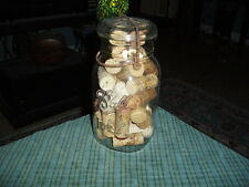 Vintage BALL IDEAL Flip Top GLASS JAR  W/ WINE BOTTLE CORKS Unique Shelf Display