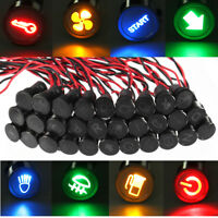 10mm 12V 24V LED Luz De Advertencia Indicador Dash Panel Tablero Lámpara Piloto