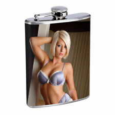Rock & Roll Pin Up Girls D14 Flask 8oz Stainless Steel Hip Drinking Whiskey