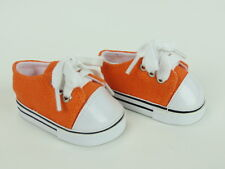 """Orange Sneakers Fits 18"""" American Boy or Girl Doll Clothes Shoes"""
