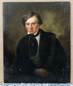 Tableau Ancien Huile Portrait Présumé de Victor Hugo Jeune Homme Élégant XIXe