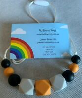 Teething Necklace Nursing Sensory Silicone Jewellery BPA Free Black Grey Orange