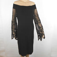 Analili Womens Dress Off The Shoulder Lace Bell Long Sleeve Black Size M / L