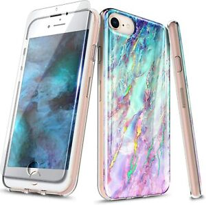 For iPhone SE 2020 (2nd Gen) Case Slim Marble Cover + Tempered Glass Protector