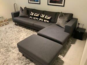 Sofas - used Bo Concept Grey Corner Sofa and Footstool