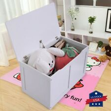 Wooden Toy Chest Storage Box MDF Entryway Bench Kids Furniture Playroom White