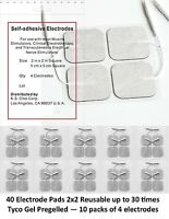 40 Electrode Tens  Units ELECTRODE PADS 2 x 2 Inch White Cloth lowest on ebay