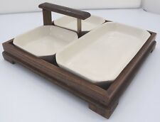 VINTAGE BURLEIGH WARE BURGESS & LEIGH SET OF NIBBLES DISHES IN WOODEN TRAY