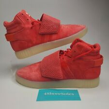 NEW Adidas Men's SIZE 11 Tubular Invader Strap Red Suede Mid Top Shoes BB5039