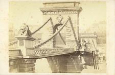 Hongrie, Budapest, le pont des chaînes, vue générale  Vintage albumen Print
