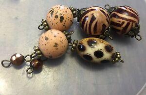 Vintage German Mixed Brown Peach Splatter & Exotic Print Round Wood Bead Links