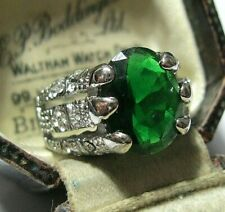Crystal Dragon Claw Ring Q 8 Vintage Jewellery Sterling Silver Chunky Emerald