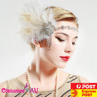 1920s Headband Feather Bridal Great Gatsby Party 20s Gangster Flapper Headpiece