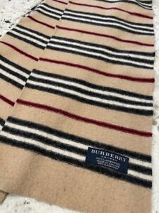 """Man or Womans Burberry 100% Lambswool Scarf Made in England 100"""" X 8"""" Dimentions"""
