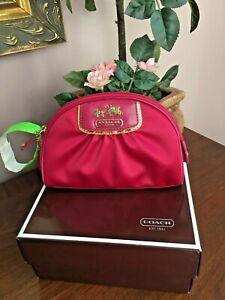 New Coach Cosmetic Bag Amanda Pink Satin Gold Zip Small Box F42039  M2