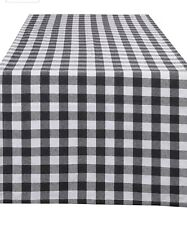 New listing Glamburg 100% Cotton Table Runner 2-Pack 16x108 Gingh 00006000 am Check Plaid- Charcoal