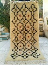 "Vintage Handmade Moroccan Rug wool Azilal Carpet Tribal Berber Rug 5'7"" x 2'6"""
