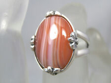 AGATE - Red Lace Agate 925 Sterling Silver Fleur-de-lis Ring 10.20ct FREE RESIZE