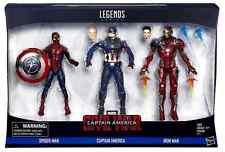 MARVEL LEGENDS CIVIL WAR SPIDER-MAN IRON MAN CAPTAIN AMERICA SET OF 3 PACK