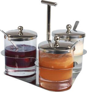 Tischset Glas Edelstahl 3 Glasbehälter Edelstahldeckel Löffel Ständer Marmelade