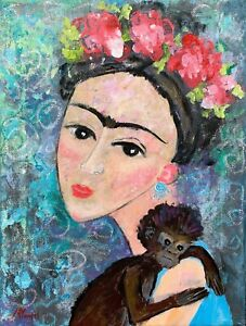 FRIDA KAHLO & Monkey Portrait Abstract Original Painting12x9 Direct from Artist