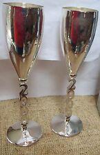 Godinger Silver Art 2 Silver Plated Millennium Champagne Goblets 2000 Msrp $40