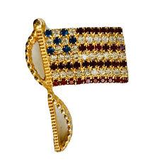 New listing Vintage Rafaelian Usa American Flag Pin Brooch Rhinestone Crystals 70s Patriotic