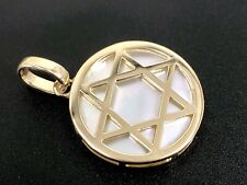 White Mother of Pearl Star of David Solid 14k Yellow Gold 2-Sided Pendant, New