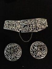 Vintage Sarah Covington Silver Tone Filigree Bracelet & Earring Demi Parure CUTE
