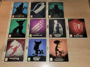 Full Set of 10 PS4 Only On Playstation Limited Edition Display Sleeves (NO GAME)