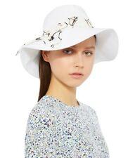 968404a0ff0 Anthropologie Eugenia Kim Jordana White Linen Floral Silk Trim Summer  Bucket Hat