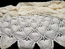 """Vintage Antique Hand Crocheted Lace Doily Tablecloth 46"""" Pineapple 40s Estate"""