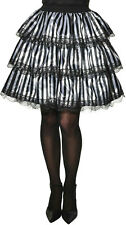 Womens Black and White Striped Tiered Ruffle Lace Detail Costume Skirt Accessory