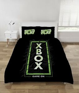 "Xbox Double Duvet Cover Bedding Set ""Game On"" Black / Green Gamers Gift Neon"