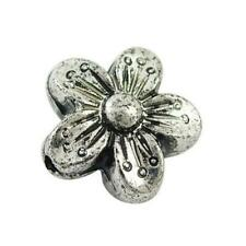 Acrylic Flower Beads 8 x 15mm Antique Silver 20 Pcs Art Hobby Jewellery Making